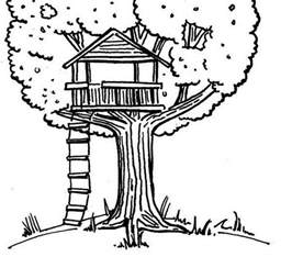 coloring page of a tree house images
