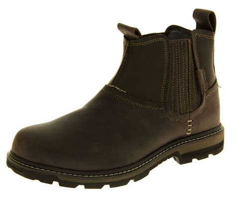 skechers boots new mens skechers leather ankle boots smart casual slip on