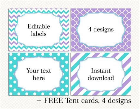 free buffet cards templates editable food buffet name labels tent cards template purple