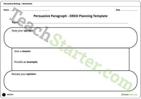 persuasive paragraph oreo planning template teaching