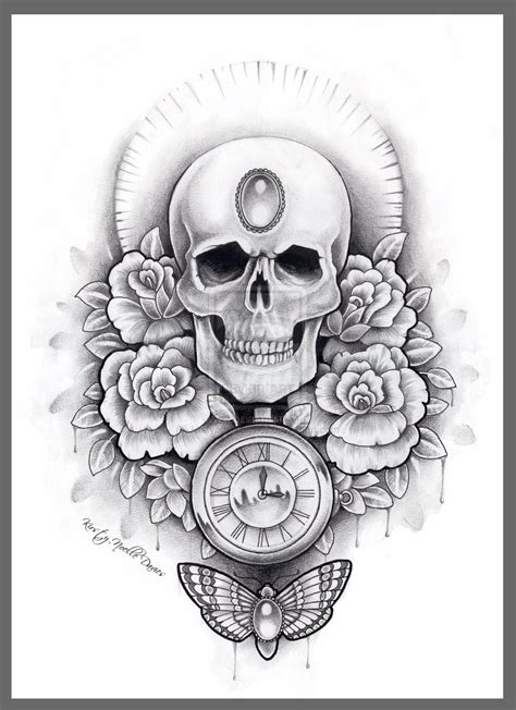black rose skull tattoo designs skull and moth thigh design by