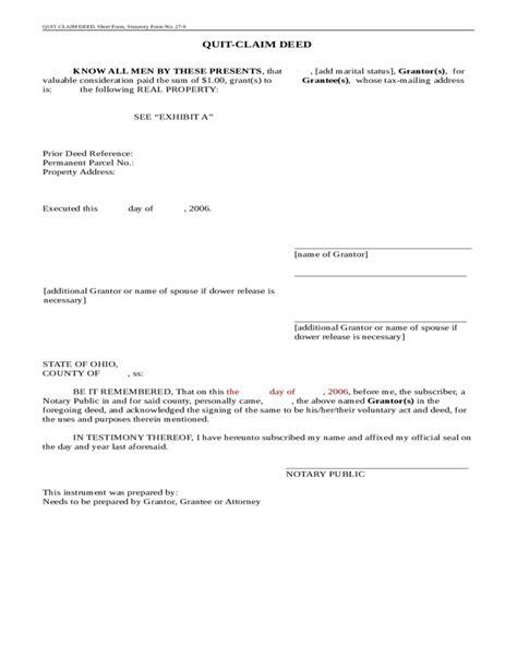 printable quit claim deed ohio statutory short form quitclaim deed ohio free download