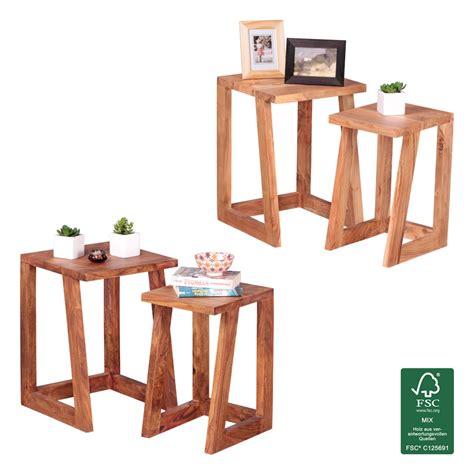 Nachttisch 2er Set by Finebuy 2er Set Beistelltisch Massivholz Wohnzimmertisch