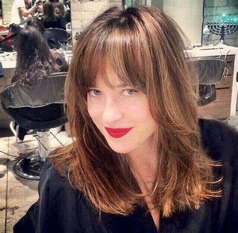 dakota johnson bangs dakota johnson at the salon hair inspiration pinterest