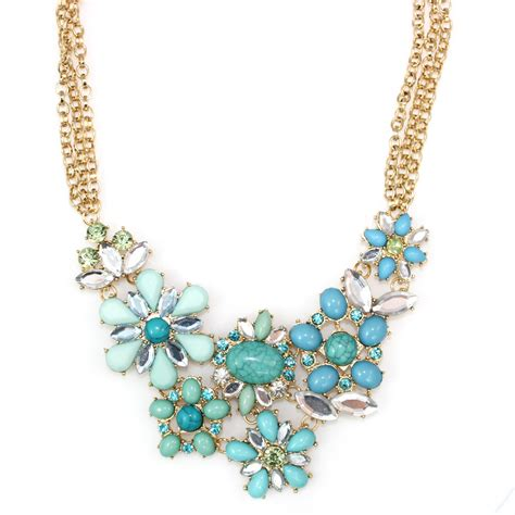 Turquoise Statement Necklace turquoise bead flower cluster statement necklace