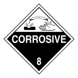 dot placard hazard class 8 corrosive adhesive vinyl
