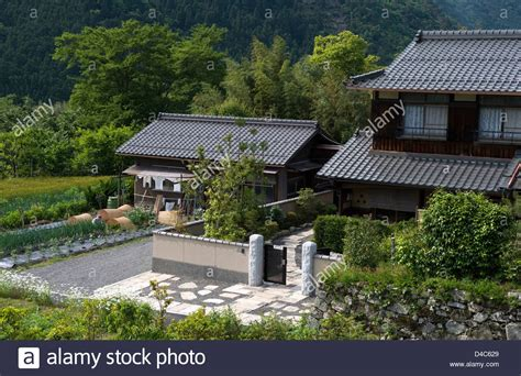 typical japanese farm house with vegetable garden in the
