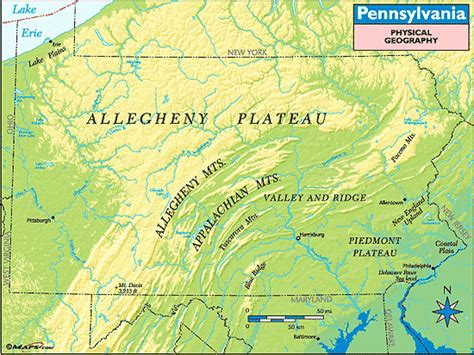 pennsylvania physical map pennsylvania physical geography map by maps from maps