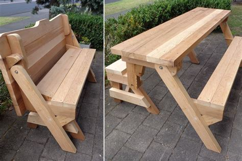 folding bench picnic table one piece folding bench and picnic table plans downloadable