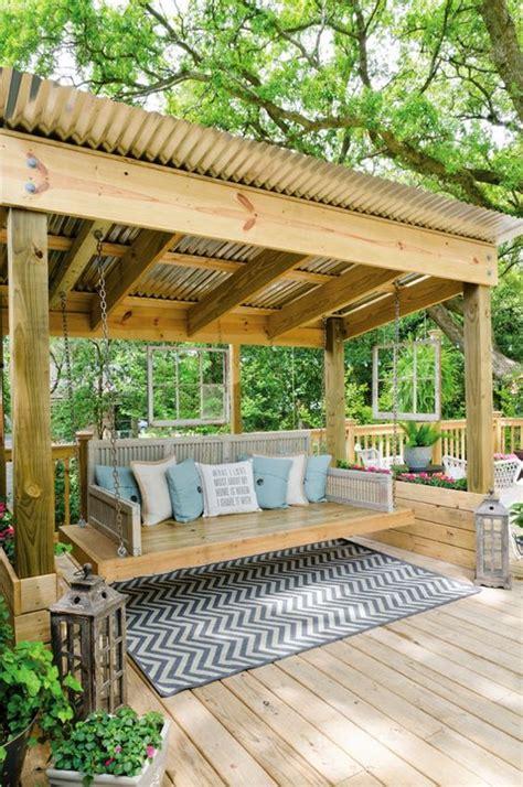 deck swing 30 outstanding backyard patio deck ideas to bring a