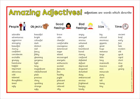 Word Mat by Amazing Adjectives Word Mat Sb6203 Sparklebox