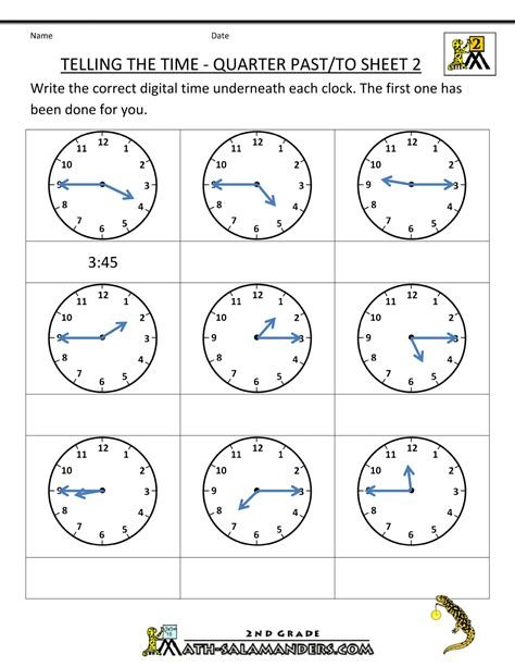 printable clock puzzle free clock worksheets telling the time quarter past to 2