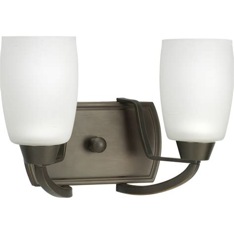 Glass Shades For Bathroom Light Fixtures by Progress Lighting P2795 20 Antique Bronze Wisten Two Light