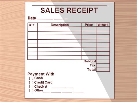 sales receipt book template how to write a receipt 9 steps with pictures wikihow