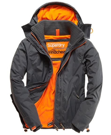 Jaket Windcheater City 1 mens arctic windcheater in mid charcoal fluro orange superdry