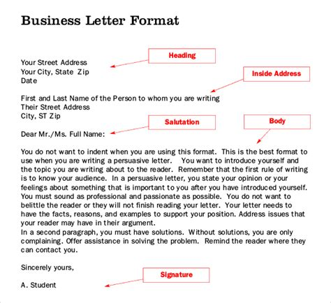Business Letter Writing Grammar letter writing template 10 free word pdf documents