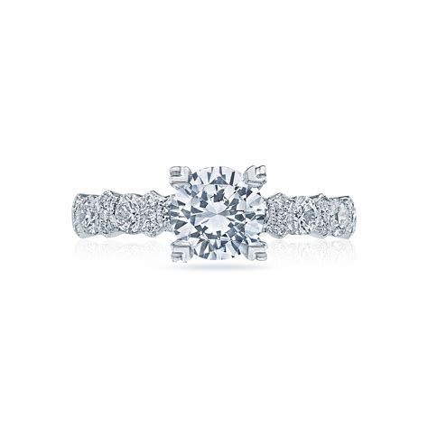 Crescent round brilliant diamond engagement ring   DK Gems