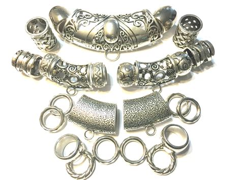 25pcs scarf jewelry clasps slides bails ring silver tone mix