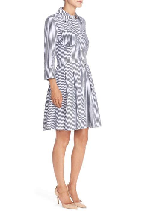 cotton striped dress blue intl lyst eliza j stripe cotton shirtdress in blue