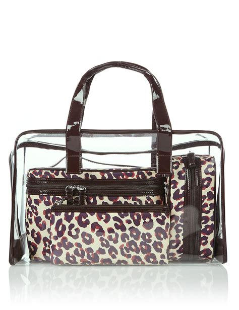 cosmetic bag 2tingkat m s collection 4 leopard print cosmetic bag set