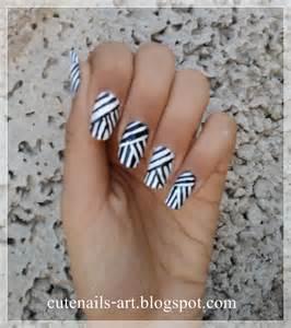 cutenails art weaving lines nail art design black and white