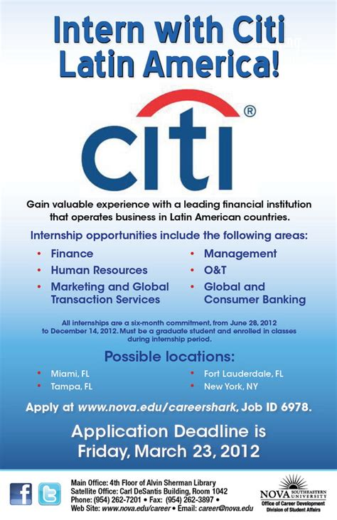 Apply Mba America Internship by Intern With Citi America Deadline To Apply Nsu