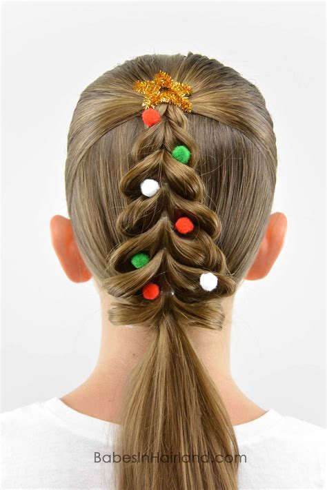 christmas tree hairstyle for girls tree pull through braid in hairland