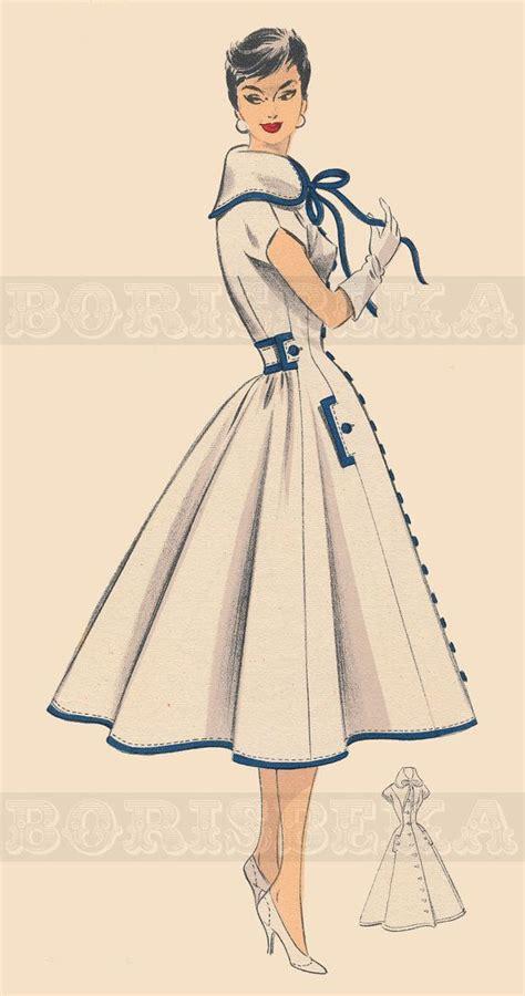 Sewing Pattern Pdf Vintage | vintage french dress coat sewing pattern 50s pdf by