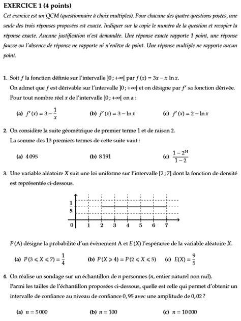 Bac S Maths 2018 Sujet Corrig 233 Maths Bac 2016 Es Et L Sp 233 Cialit 233 Pondich 233 Ry