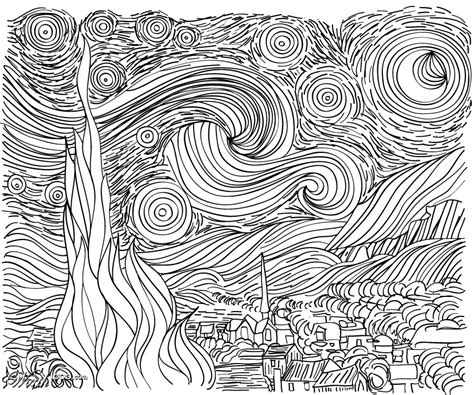 coloring page gogh starry line drawing starry gogh could use as a