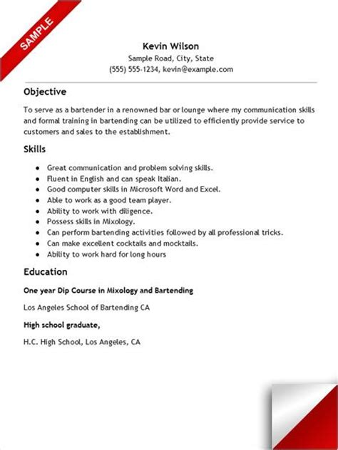 bartender resume with no experience resume exles resume exles