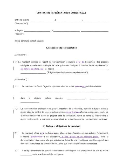 Contrat D Commercial Modèle Mod 232 Le De Contrat De Repr 233 Sentation Commerciale Doc