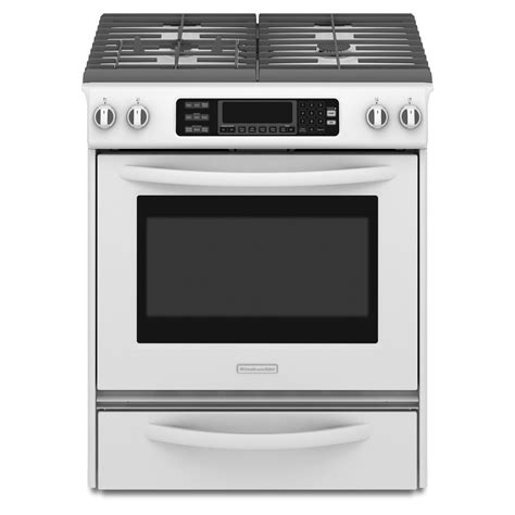 Kitchen Aid Gas Range by Kitchenaid Kgss907swh 4 1 Cu Ft Self Cleaning Slide