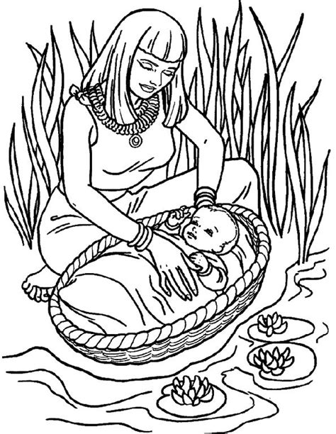 coloring pages baby moses basket free coloring pages of baby moses in basket
