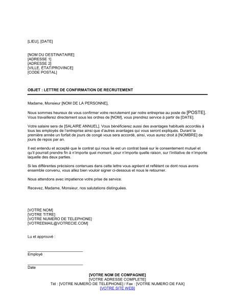 exemple de lettre de confirmation