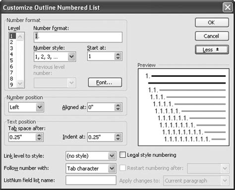 Outline Numbering Style Word 2007 by Image Gallery Outline Numbering Format