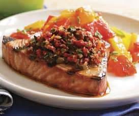 grilled tuna with sun dried tomato olive caper relish
