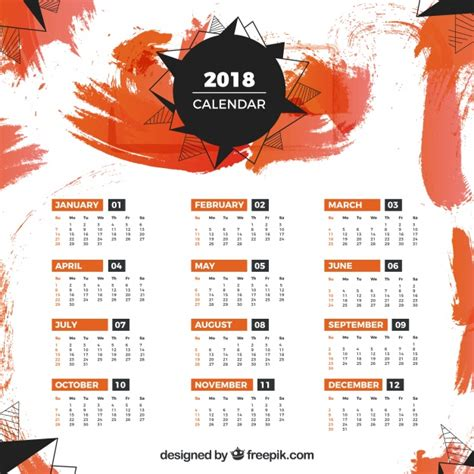 Free 2018 Calendar Template 2018 Calendar Template With Orange Stains Vector Free