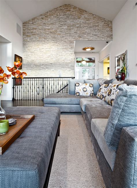 accent wall living room houzz kirkland custom living room with stone accent wall