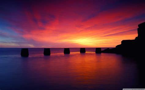 Calm Colors purple sunset on the sea 4k hd desktop wallpaper for