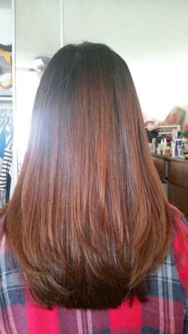 dyed layered hairstyles new haircut layered hair medium length straight ends