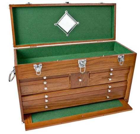 solid oak  drawer wooden machinist tool chest wood box