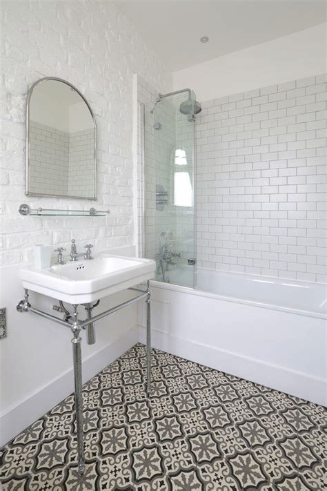 Bathroom White Brick Tiles by Bathroom Flooring Bathroom Mediterranean With Metro Tile