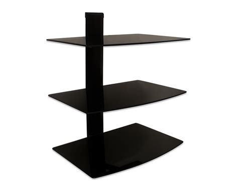 3 Shelf Wall Mount For Components by 3 Tier Large Glass Shelf Wall Mount Tv Component Cable Box Dvd Ebay