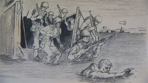 D Day Sketches by D Day Veteran Remembers Fighting With His Rifle And His