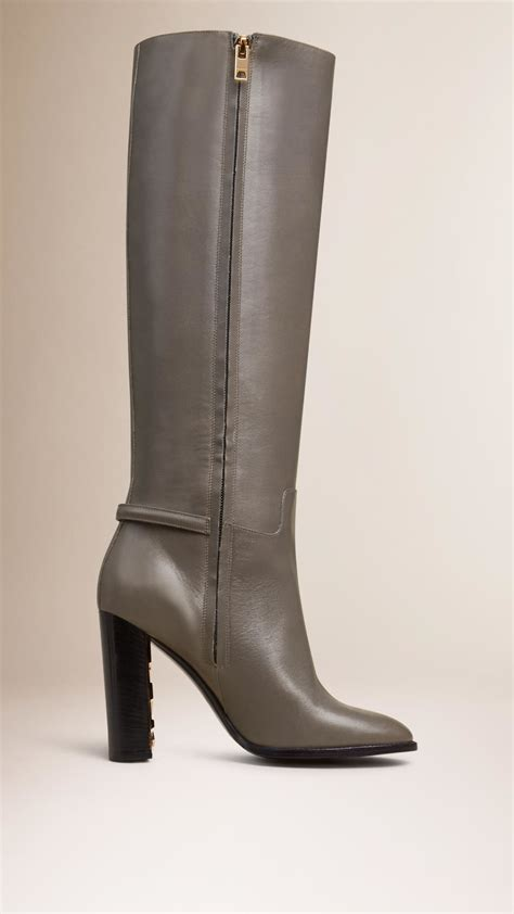 burberry knee high leather boots in gray lyst