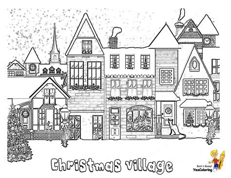 merry christmas printables villages sleigh trees carolers