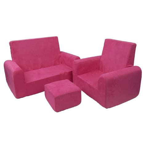 toddler sofa chair and ottoman set in pink microsuede