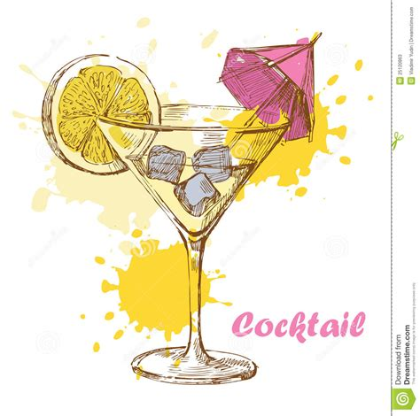 cocktail sketch hand draw cocktail stock vector image of design doodle
