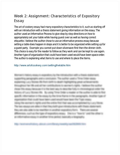 Characteristics Of An Expository Essay by 150 Week 2 Assignment Characteristics Of Expository Essay Week 2